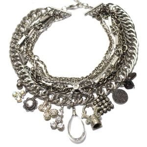 Silver and Rhinestone Statement Necklace Repurpose
